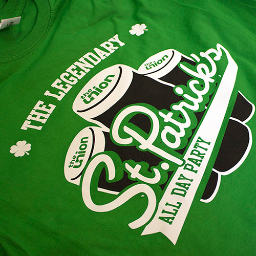 Screen printing t-shirts for a St. Patrick's day event