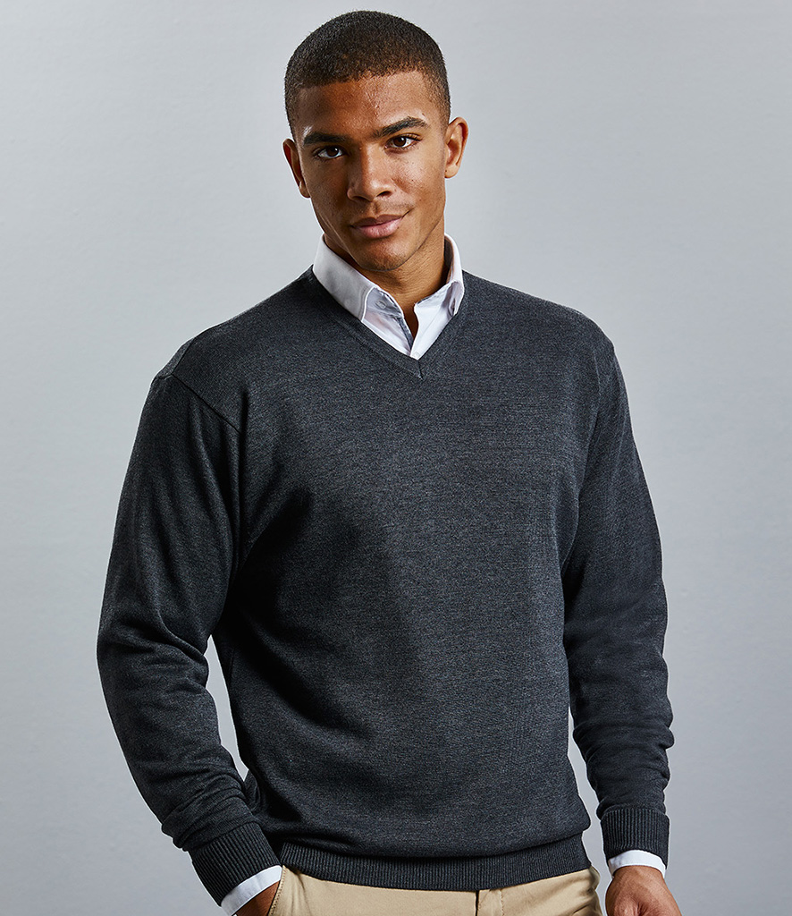 Russell Collection Cotton Acrylic V Neck Sweater