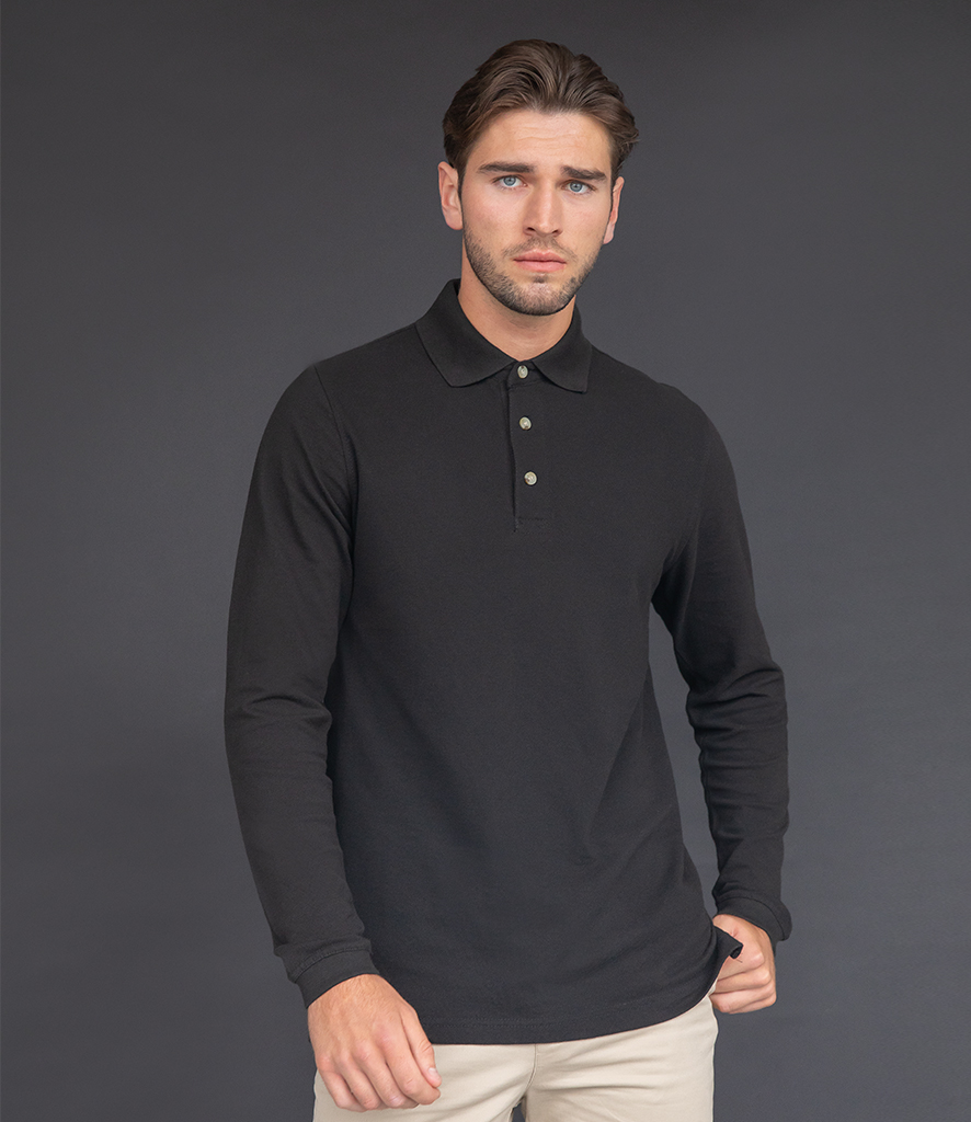 Henbury Long Sleeve Cotton Piqué Polo Shirt