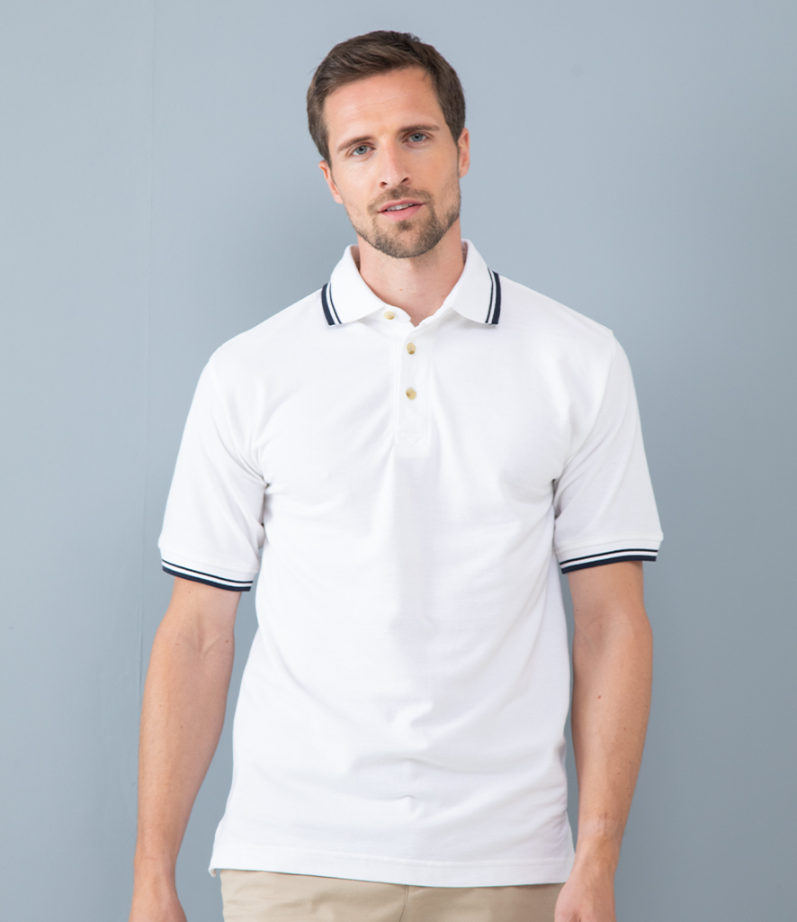 Henbury Contrast Double Tipped Cotton Piqué Polo Shirt