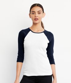 Bella Ladies Baby Rib 3/4 Sleeve Contrast T-Shirt