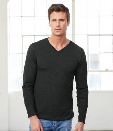 Canvas Unisex Long Sleeve Tri-Blend V Neck T-Shirt