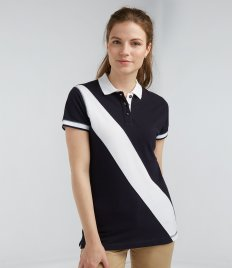 Front Row Ladies Diagonal Stripe Cotton Piqué Polo Shirt