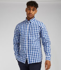 Front Row Long Sleeve Checked Cotton Shirt