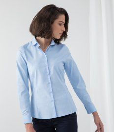 Henbury Ladies Long Sleeve Stretch Poplin Shirt