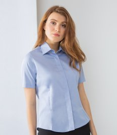Henbury Ladies Short Sleeve Pinpoint Oxford Shirt