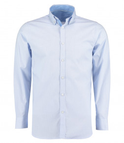Clayton and Ford Micro Check Long Sleeve Tailored Poplin Shirt