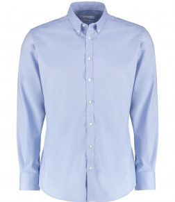 Kustom Kit Slim Fit Stretch Long Sleeve Oxford Shirt