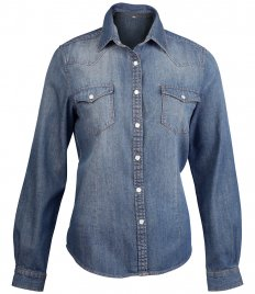 Kariban Ladies Long Sleeve Denim Shirt