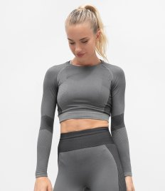 Tombo Ladies Seamless Panelled Long Sleeve Crop Top