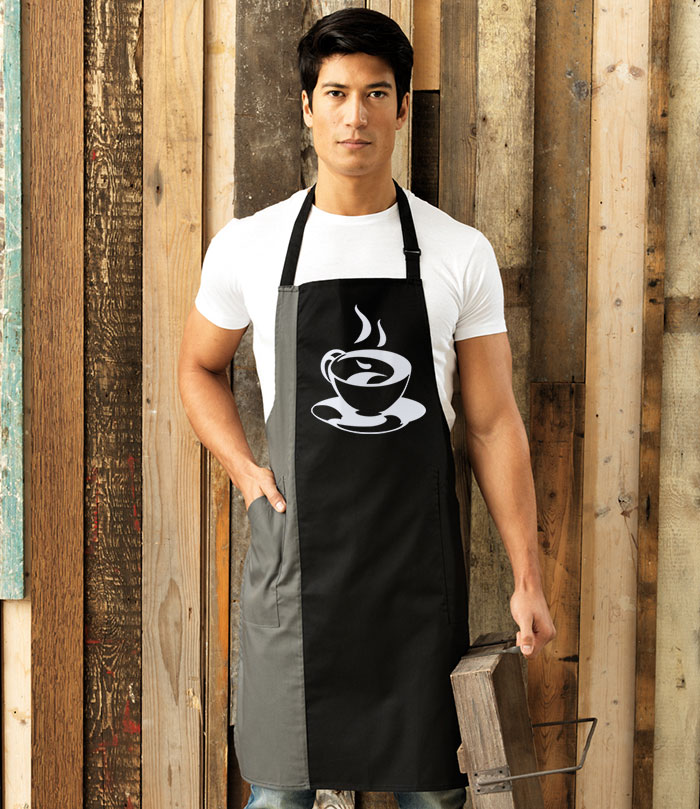 Workwear apron with printed design